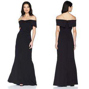 NEW ELIZA J Black KNOT FRONT Off the Shoulder GOWN